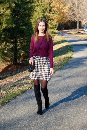 black Ivanka Trump boots - maroon knit Loft sweater - black opaque Target tights