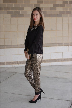 gold sequin Wayf pants - black suede Jessica Simpson heels