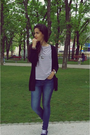 black wool Pimkie blazer - navy answear jeans - white DressLink shirt