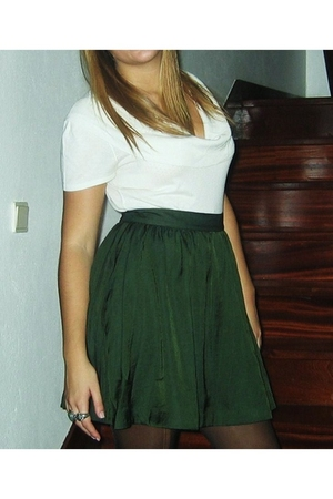 green H&M skirt - white Fridays Project shirt - accessories