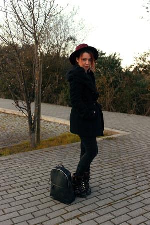 black Zara boots - black New Yorker coat - black Zara jeans