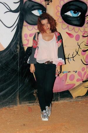black Zara jeans - light pink Primark top - silver Aliexpress sandals