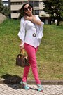 Hot-pink-zara-jeans-dark-brown-louis-vuitton-bag-pink-prada-sunglasses
