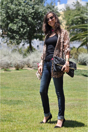 black Primark bag - pink baroque Prada sunglasses - light brown leopard Zara blo