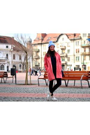 pink Bershka coat - extralarge Zara blouse