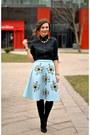 Blue-sheinside-skirt