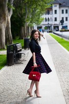 midi vintage skirt - red red Pro Fashion bag - stilettos nude In Tempo heels