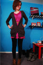 Gray-bdg-cardigan-purple-billabong-dress-black-forever-21-leggings-brown-d