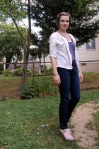 white vintage cardigan - blue Anthropologie t-shirt - silver various accessories
