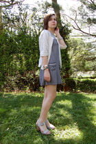 white my mom cardigan - blue Billabong dress - silver antique storethrifted brac