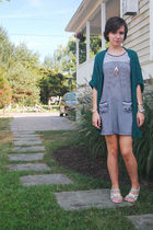 green Urban Outfitters cardigan - blue Billabong dress - silver made by me neckl