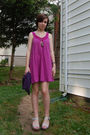 blue Lux cardigan - purple Billabong dress - silver DIY necklace - silver antiqu