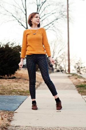 charcoal gray polka dot BDG jeans - brown Topshop shoes