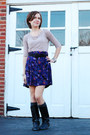black UrbanOG boots - charcoal gray Target socks - violet H&M skirt - black vint