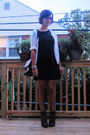 white vintage cardigan - black volcom dress - brown Nich bag - silver antique br