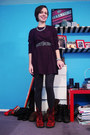 Black-forever-21-cardigan-black-volcom-dress-black-flea-market-belt-silver