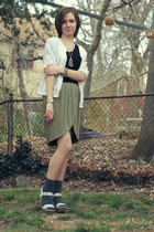 charcoal gray random socks - olive green Urban Outfitters skirt - silver various