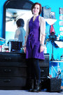 black Spring boots - purple H&M dress - black Forever 21 leggings - silver vario