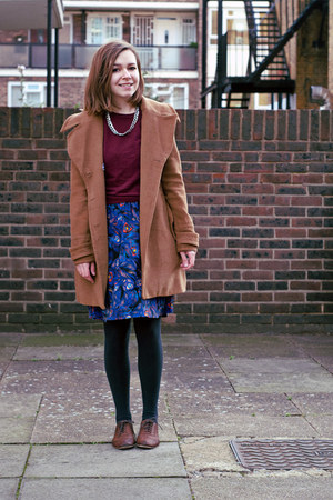 purple H&amp;M skirt - brown Topshop shoes - light brown modcloth coat
