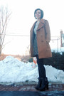Brown-modcloth-coat-charcoal-gray-h-m-cardigan-off-white-vintage-dress-sil