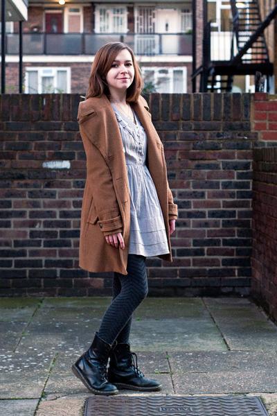 periwinkle asos dress - black doc martens boots - brown modcloth coat