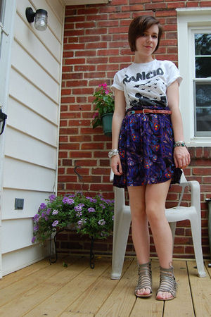 gray Dolce Vita shoes - purple worn as skirt H&M dress