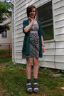 Green-silence-and-noise-cardigan-gray-modcloth-dress-silver-diy-necklace-s