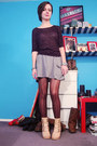 black Sisters sweater - heather gray Target skirt - silver antique bracelet - si