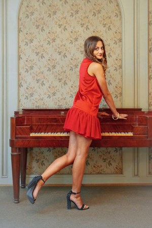 gold Sinsay bracelet - black Stradivarius bracelet - red collet dress