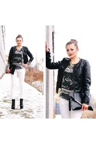 white reserved pants - black Jeffrey Campbell boots - black Stradivarius jacket