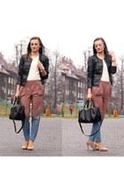 black Stradivarius jacket - black H&M bag - orange H&M pants - nude Zara heels