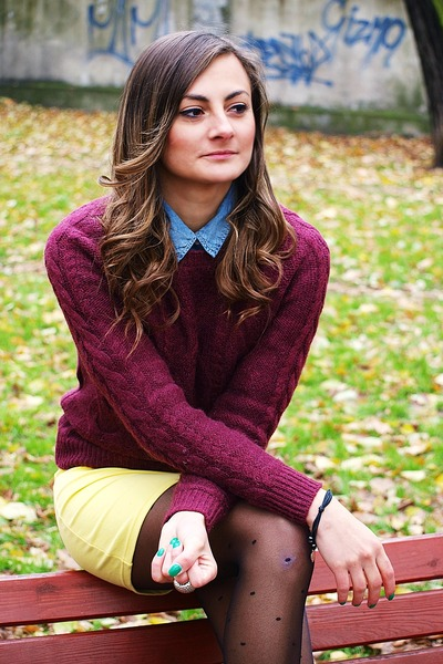 maroon H&M jumper - camel Zara boots - yellow H&M skirt - black Lilou bracelet