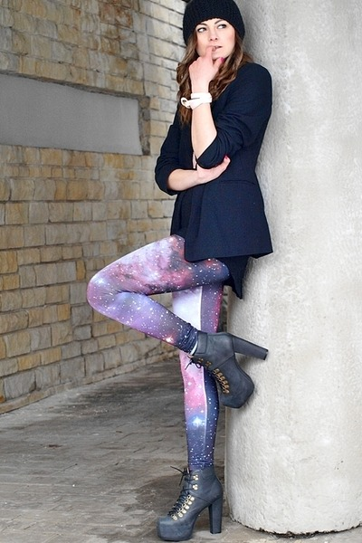 black Jeffrey Campbell boots - black H&M hat - bubble gum Romwecom leggings