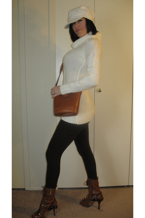 white Saks 5th Ave hat - white Macys sweater - brown victoria secret leggings -