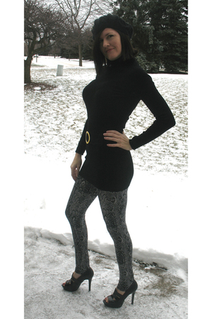 black Macys sweater - gray Macys leggings - black BCBG shoes - black Chanel purs