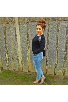 black H&M sweater - red Zara shoes - sky blue Zara jeans