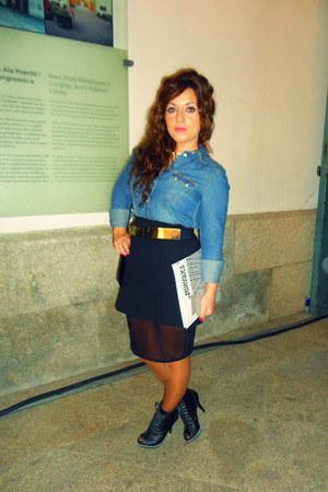 black asos skirt - teal Agostini boots - blue H&M blouse - black Zara belt