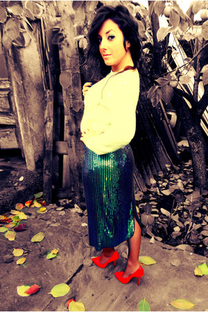 turquoise blue H&M skirt - red Zara shoes - white wool H&M jumper