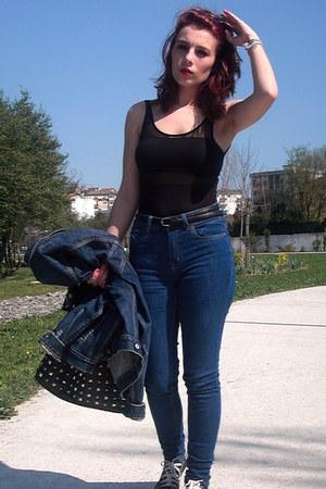 pull&bear jeans - Parfois bag - Primark belt - Bershka bodysuit