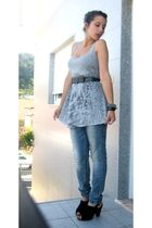 silver Bershka top - blue Bershka jeans - black Sapatalia shoes