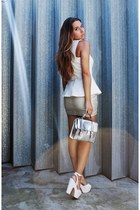 white peplum Zara top - silver metallic Nellycom bag - silver Stradivarius skirt
