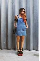 black Nasty Gal wedges - blue denim dungarees Fashion Union dress