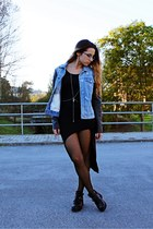 sky blue denim jacket Mango jacket - black cut out Chicwish boots
