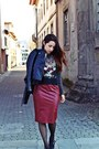 Brick-red-faux-leather-ax-paris-dress-black-faux-leather-sheinside-jacket