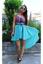assymetric Chicwish skirt - PartyGlasses sunglasses - bralet Pop Couture top