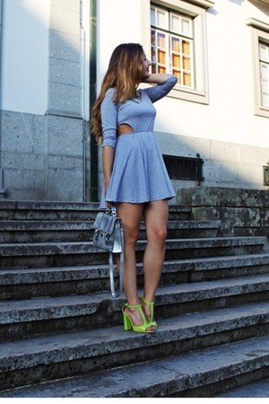 silver cutout skater AX Paris dress - lime green neon Choies heels