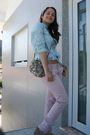 Blue-pull-bear-shirt-gray-pull-bear-purse-pink-bershka-pants-beige-unknown
