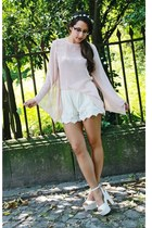 white Zara shorts - light pink bell sleeves AX Paris top