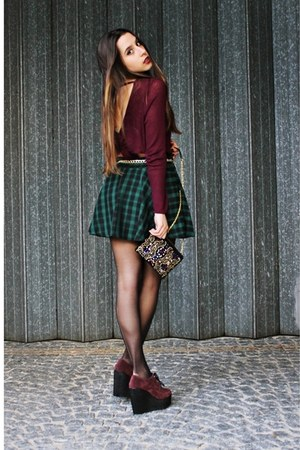 dark green checked Chicwish skirt