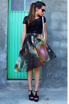 black galaxy print Reecn skirt - silver metallic Nelly bag